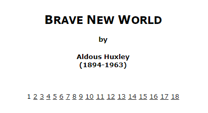 BRAVE NEW WORLD by Aldous Huxley(1894-1963)