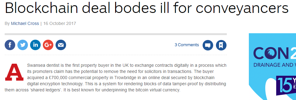 Blockchain deal bodes ill for conveyancers