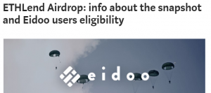 ETHLend Airdrop: info about the snapshot and Eidoo users eligibility